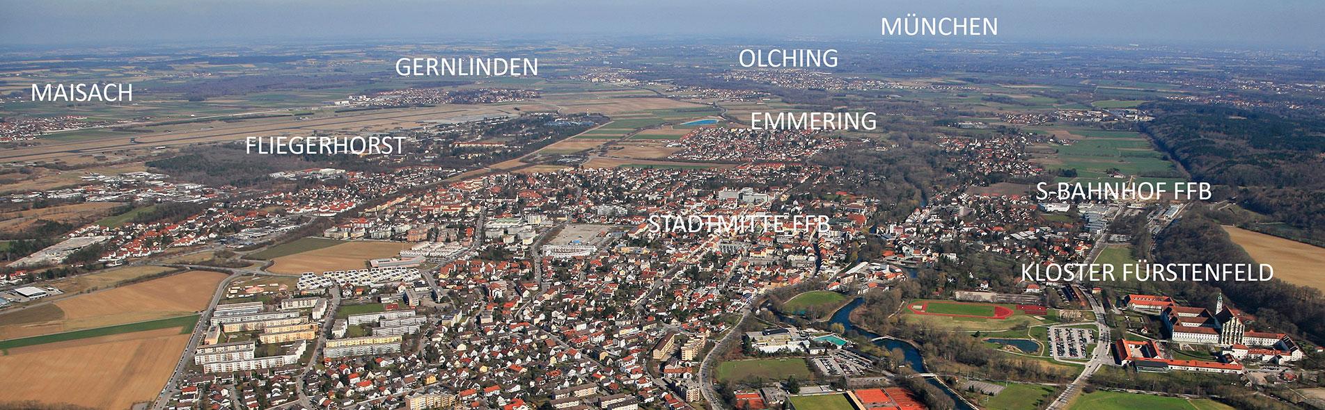Luftbild Fliegerhorst Fürstenfeldbrucvk angrenzende Gemeinden
